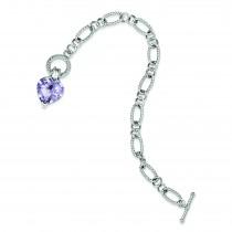 Lavender CZ Heart Bracelet in Sterling Silver