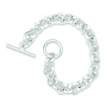 8.5inch Circular Link Bracelet in Sterling Silver