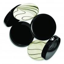 Black Agate Zebra Mother Of Pearl Stretch Bracelet in Sterling Silver