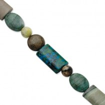 BronziteJasperStabilized Chrysocolla Bracelet in Sterling Silver