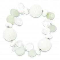 CoralJadeMoonstoneRock Quartz Stretch Bracelet in Sterling Silver