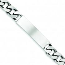 Engravable Antiqued Figaro Link ID Bracelet in Sterling Silver