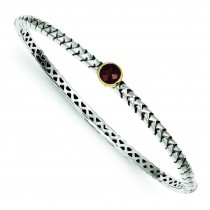 Garnet Bangle Bracelet in 14k Yellow Gold & Sterling Silver