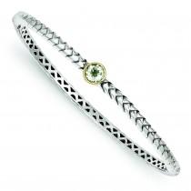Green Amethyst Bangle Bracelet in 14k Yellow Gold & Sterling Silver