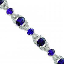 CZ Vintage Style Bracelet in Sterling Silver