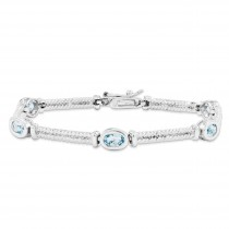 Blue Topaz Bracelet in Sterling Silver