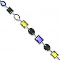 Multicolored CZ Bracelet in Sterling Silver