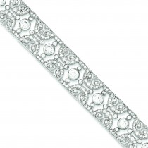 Vintage Style CZ Bracelet in Sterling Silver