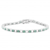 Emerald White Topaz Tennis Bracelet in Sterling Silver