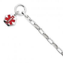 Engravable Hexagon Medical ID Bracelet in Sterling Silver