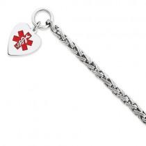 Engravable Heart Medical ID Bracelet in Sterling Silver