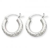 Diamond Cut Round Hoop Earrings in 10k White Gold