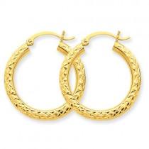 Diamond Cut Round Hoop Earrings in 10k Yellow Gold