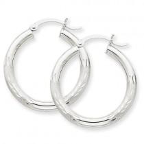 Satin Diamond Cut Round Hoop Earrings in 10k White Gold