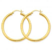 Satin Diamond Cut Round Hoop Earrings in 10k Yellow Gold