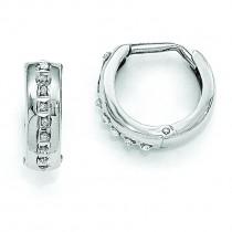 Diamond Fascination Round Huggy Hoop Earrings in 14k White Gold (0.01 Ct. tw.) (0.01 Ct. tw.)