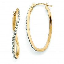 Diamond Fascination Twist Hinged Hoop Earrings in 14k Yellow Gold (0.01 Ct. tw.) (0.01 Ct. tw.)
