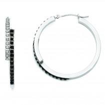 Diamond Fascination B W Diamond Round Hinged Hoop Earrings in 14k White Gold (0.01 Ct. tw.)