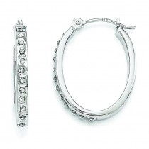 Diamond Fascination Oval Hinged Hoop Earrings in 14k White Gold (0.01 Ct. tw.) (0.01 Ct. tw.)
