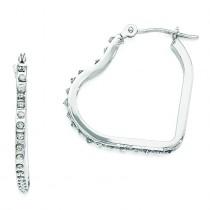 Diamond Fascination Heart Hinged Hoop Earrings in 14k White Gold (0.01 Ct. tw.) (0.01 Ct. tw.)