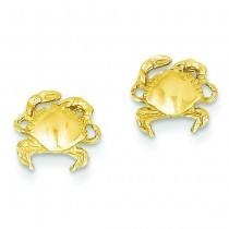 Crab Earrings in 14k Yellow Gold