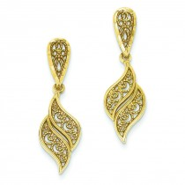 Diamond Cut Filigree Swirl Dangle Post Earrings in 14k Yellow Gold