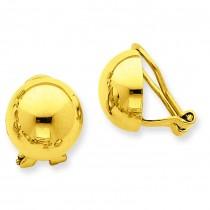 Non-pierced Half Ball Omega Back Earrings in 14k Yellow Gold