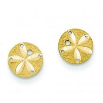 Diamond Cut Sand Dollar Post Earrings in 14k Yellow Gold