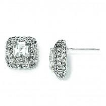 Asscher cut Square CZ Post Earrings in Sterling Silver