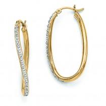 Diamond Mystique Oval Twist Hinged Hoop Earrings in Sterling Silver (0.01 Ct. tw.)