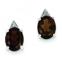 Rhodium Smokey Quartz Diamond Post Earrings in Sterling Silver