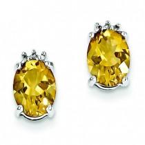 Rhodium Oval Citrine Diamond Post Earrings in Sterling Silver