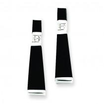 Onyx Tapered Drop Earrings in Sterling Silver