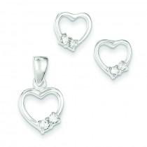 Heart With CZ Earrings Pendant Set in Sterling Silver