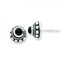 Antiqued Onyx Earrings in Sterling Silver