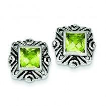 Green CZ Square Earrings in Sterling Silver