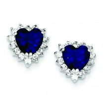 Dark Blue And Clear CZ Heart Earrings in Sterling Silver