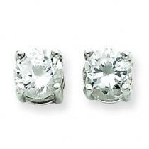 Round CZ Stud Earrings in Sterling Silver