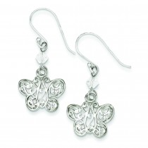 CZ And Filigree Butterfly Dangle Earrings in Sterling Silver
