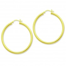 Gold Flashed Patterned Hoop Earrings in Sterling Silver