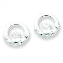 Claddagh Post Earrings in Sterling Silver