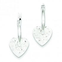 Hammered Heart Dangle Hoop Earrings in Sterling Silver
