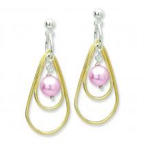 Vermeil Simulated Pearl Dangle Post Earrings in Sterling Silver