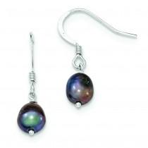 Black Cultured Freshwater Pearl Dangle Earrings in Sterling Silver