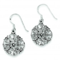 Antiqued Filigree Dangle Earrings in Sterling Silver
