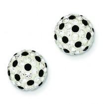 White Black Swarovski Crystal Post Earring in Sterling Silver