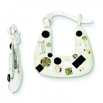 Enamel Preciosa Crystal Square Earrings in Sterling Silver