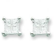 Square CZ Basket Set Stud Earrings in Sterling Silver