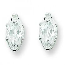 Marquise Stud Earrings in Sterling Silver