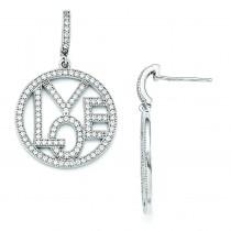 CZ Round Love Dangle Post Earrings in Sterling Silver